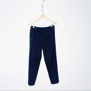 Vince Tie Waist Tapered Cropped Wool Pant